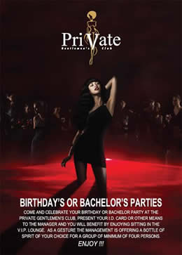 Private Gentlemen's club host birthday's or bachelor parties